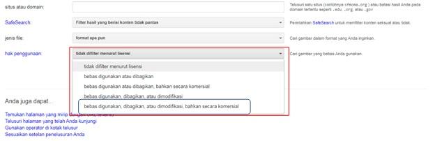 Gambar 4. Pilihan kriteria pencarian berdasarkan perijinan konten