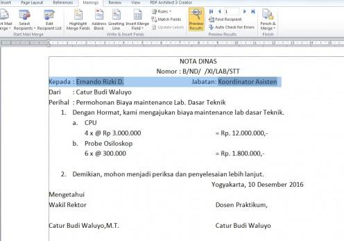 Cara Mudah menggunakan Mail Merge pada Microsoft Word 2010