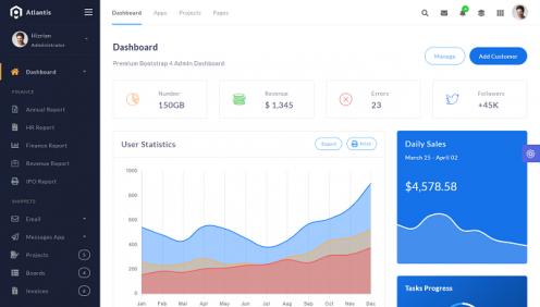 Template Admin dengan Atlantis PRO menggunakan Bootstrap versi 4